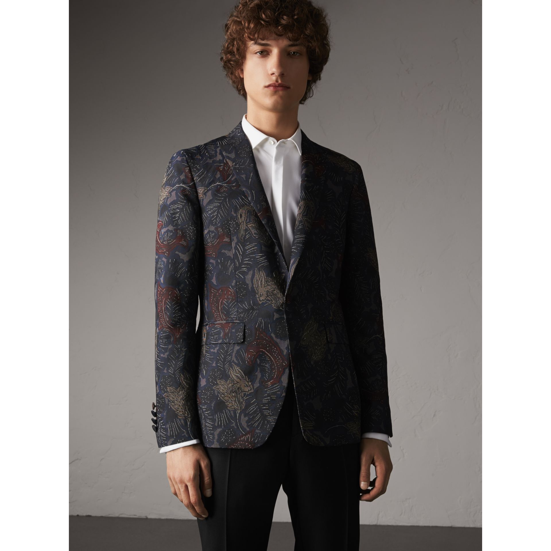 Slim Fit Beasts Technical Silk Jacquard Tailored Jacket in Navy Grey - Men | Burberry - gallery image 6