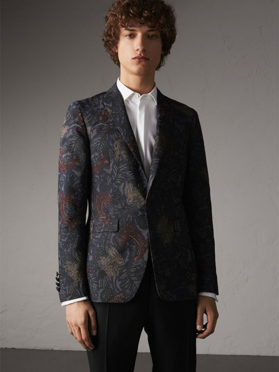 Slim Fit Beasts Technical Silk Jacquard Tailored Jacket - Men | Burberry Australia