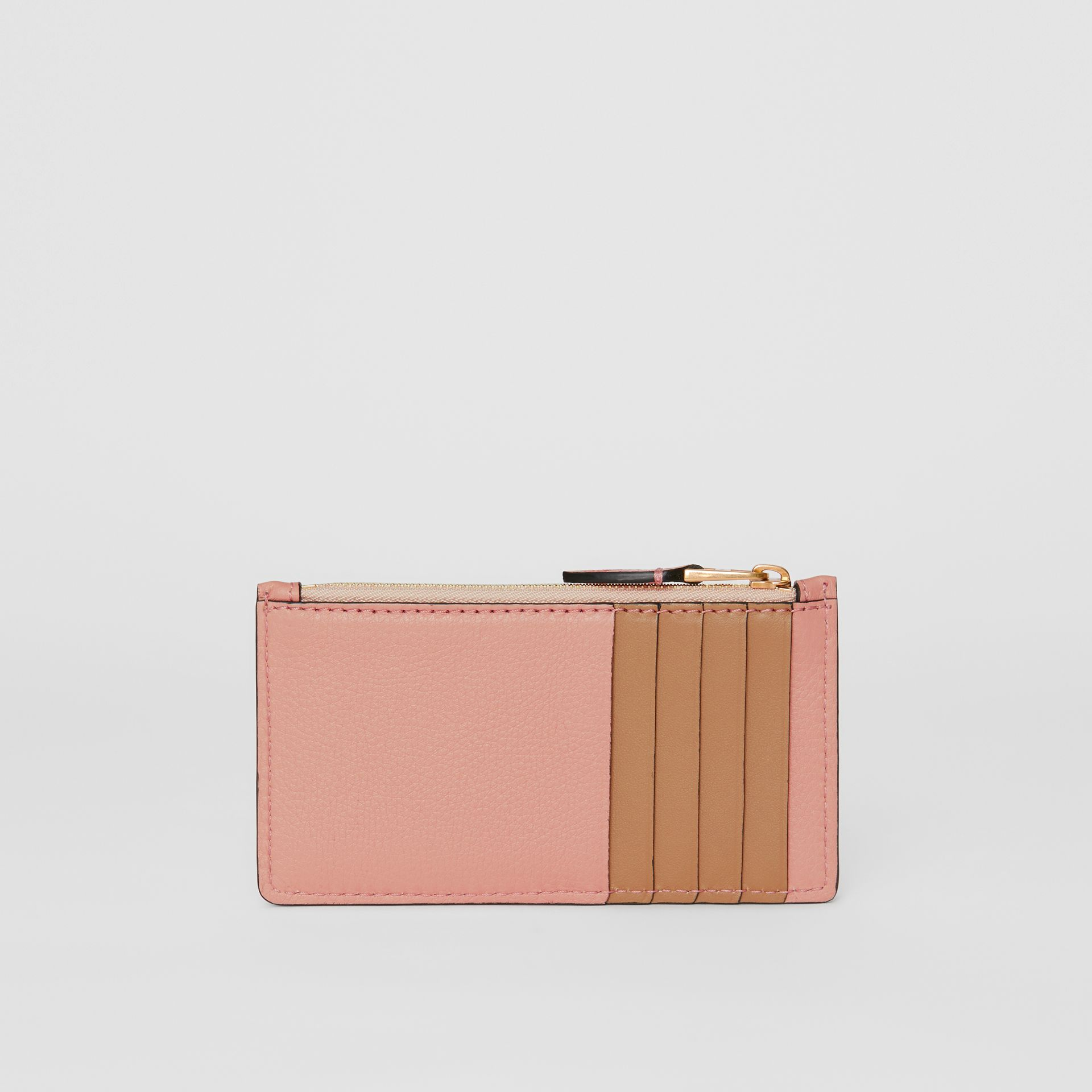 Porte-cartes zippé en cuir bicolore (Rose Platiné) - Femme | Burberry - photo de la galerie 4