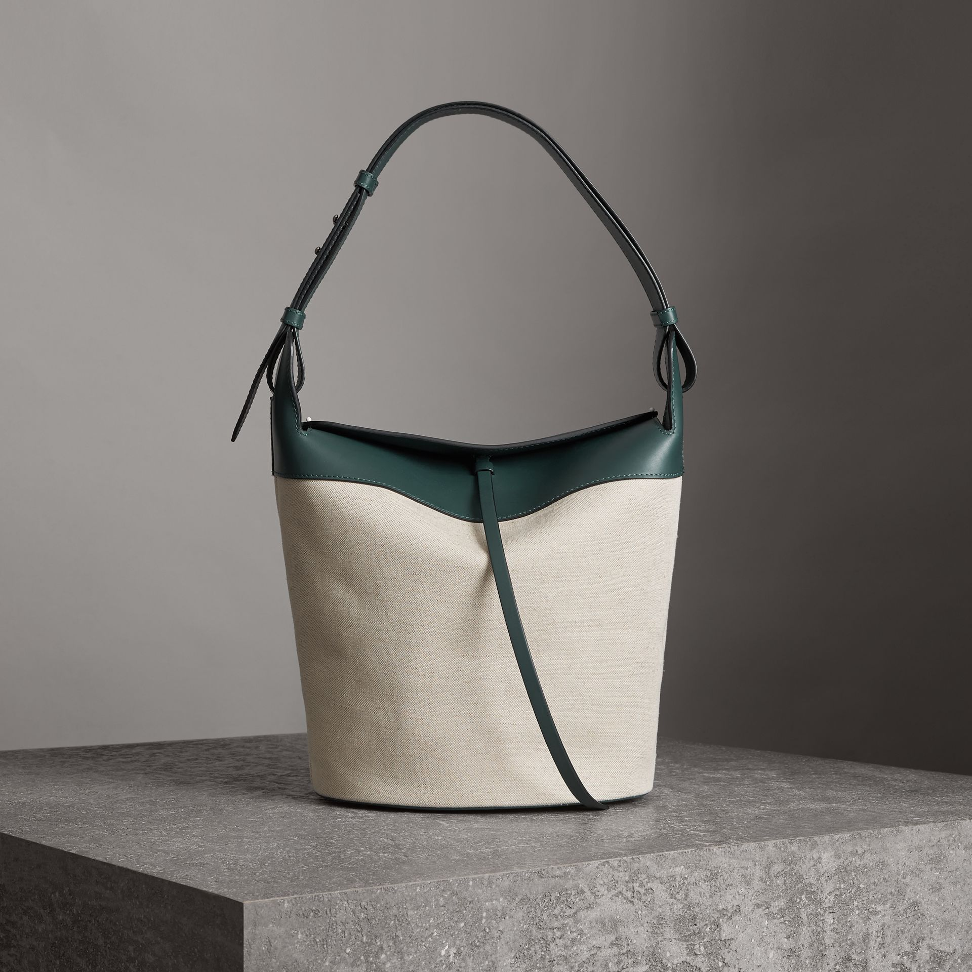The Large Cotton Linen and Leather Bucket Bag in Dark Cyan - Women | Burberry - gallery image 0