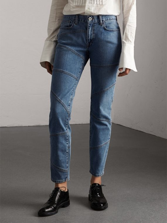 Jeans aderenti in denim giapponese con cuciture decorative - Donna | Burberry