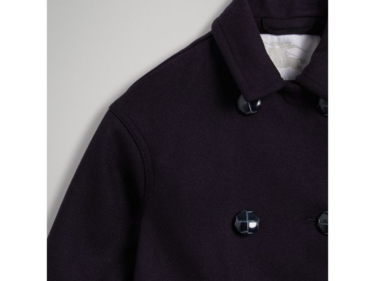 Double-faced Wool Pea Coat in Navy - Girl | Burberry - cell image 4