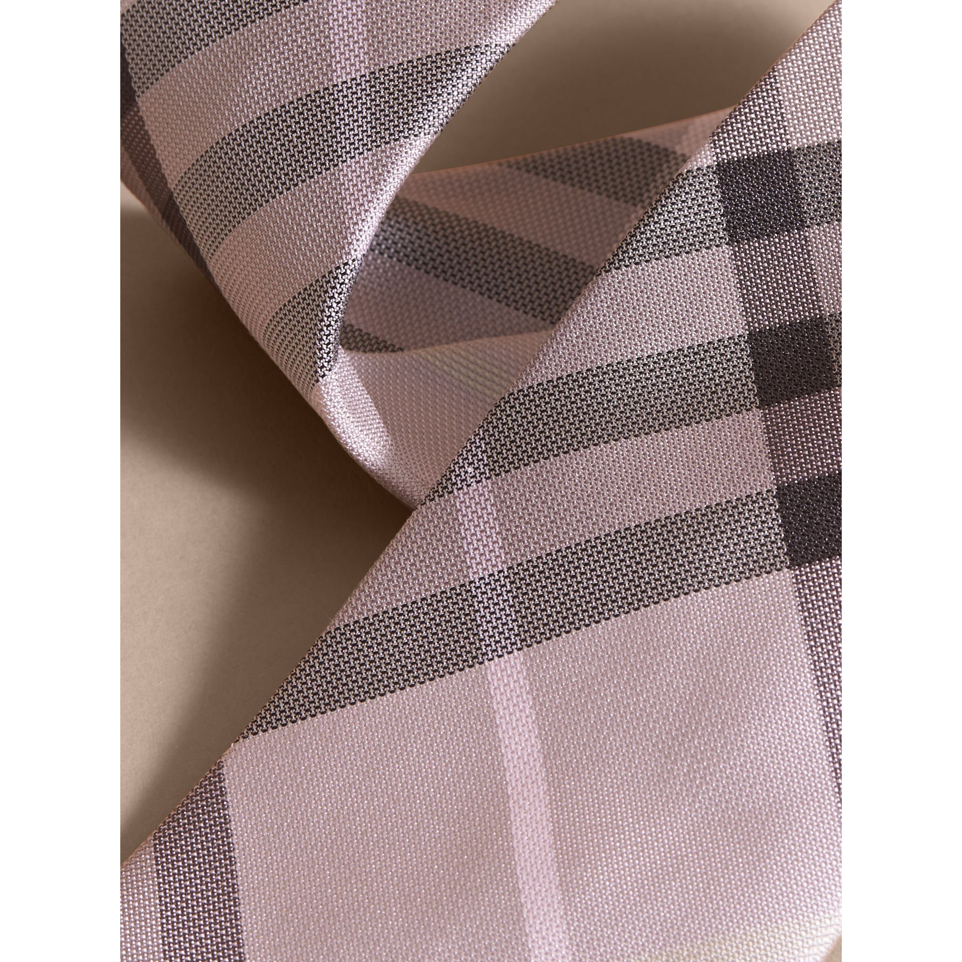 Modern Cut Check Silk Tie in Dusty Pink - gallery image 2