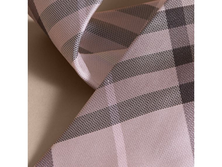 Modern Cut Check Silk Tie in Dusty Pink - cell image 1