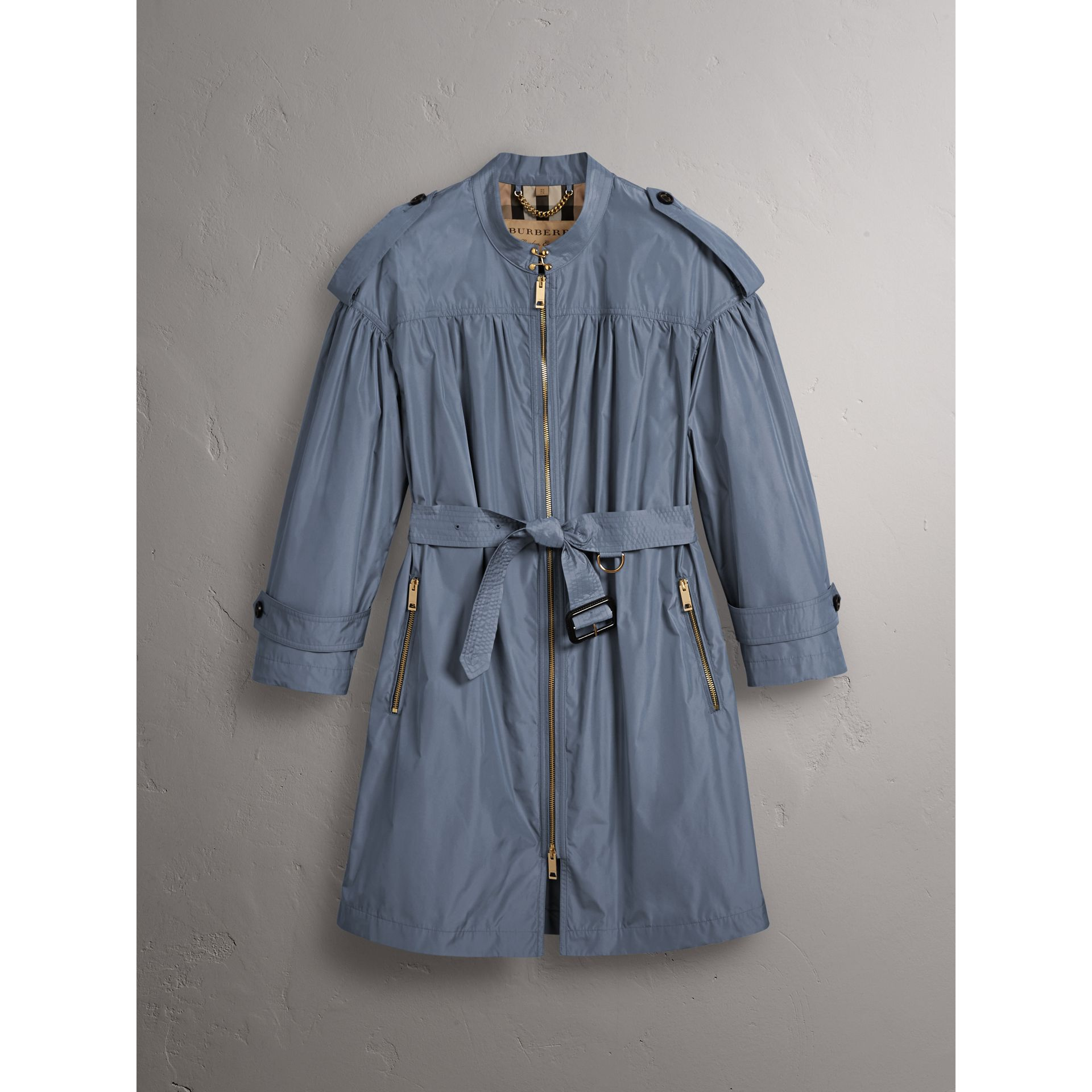Lightweight Ruched Coat in Stone Blue - Women | Burberry Canada - gallery image 4
