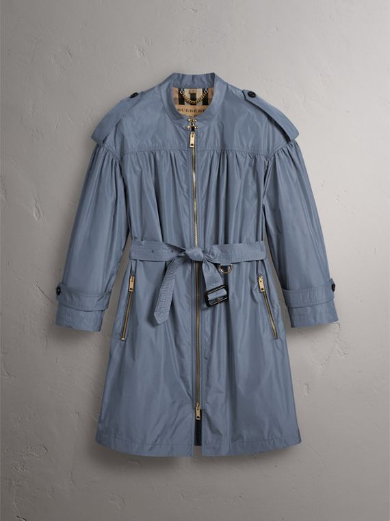 Lightweight Ruched Coat in Stone Blue - Women | Burberry - cell image 3