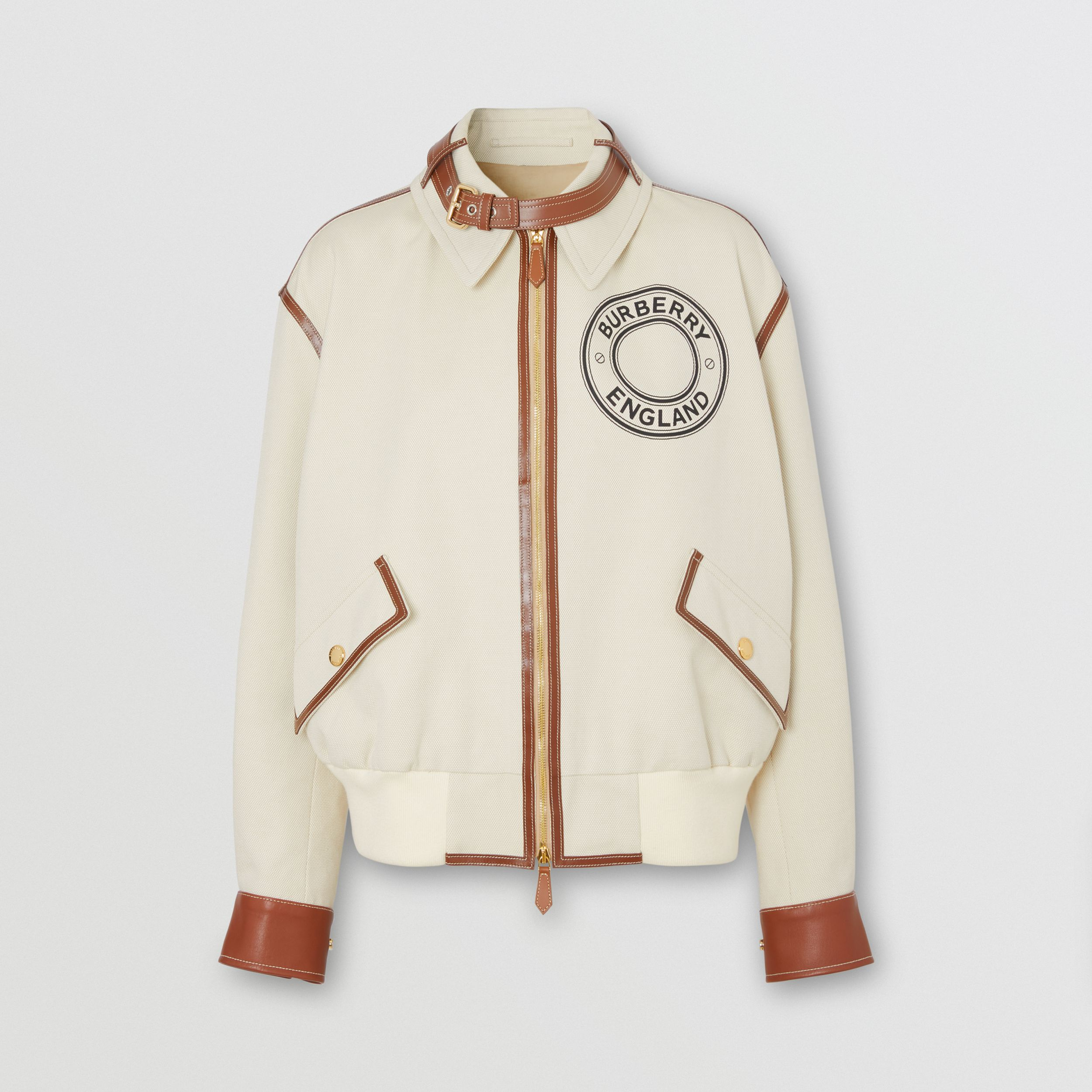 Logo Graphic Cotton Canvas and Lambskin Blouson in Vanilla - Women | Burberry - 4