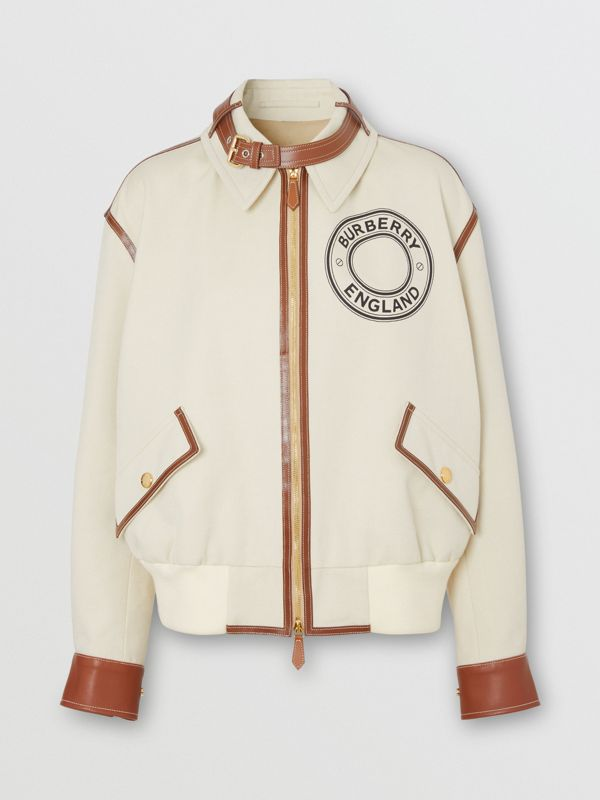 Logo Graphic Cotton Canvas and Lambskin Blouson in Vanilla - Women | Burberry - cell image 3