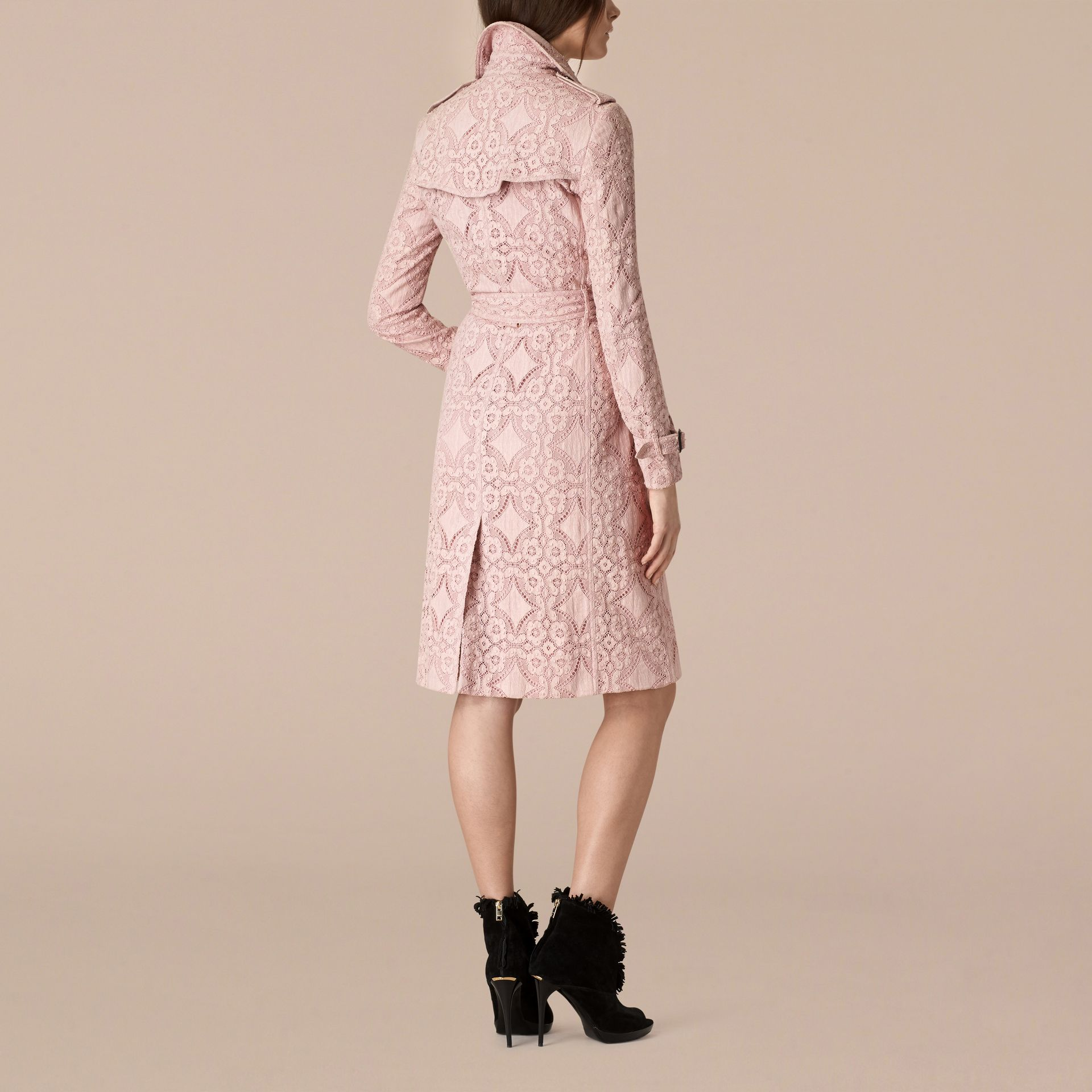 Thistle pink Gabardine Lace Trench Coat Thistle Pink - gallery image 2