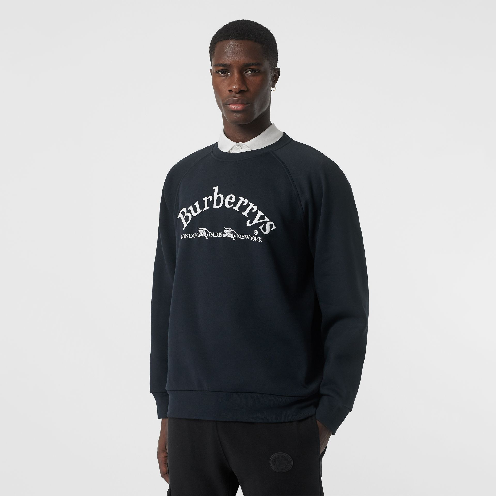 Embroidered Archive Logo Jersey Sweatshirt in Navy - Men | Burberry United States - gallery image 4