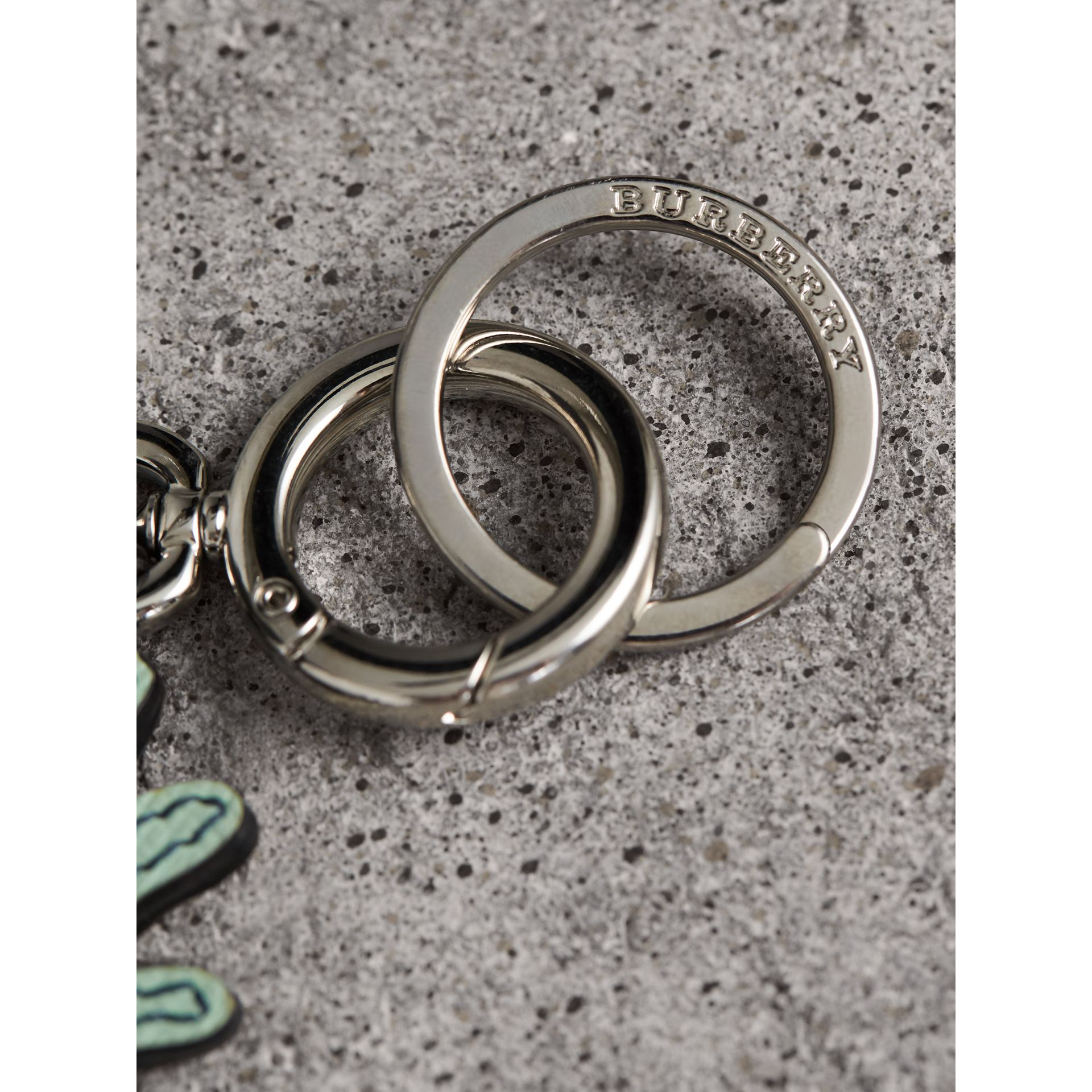 Creature Motif Leather Trim Key Ring in Light Mint - Men | Burberry - gallery image 2