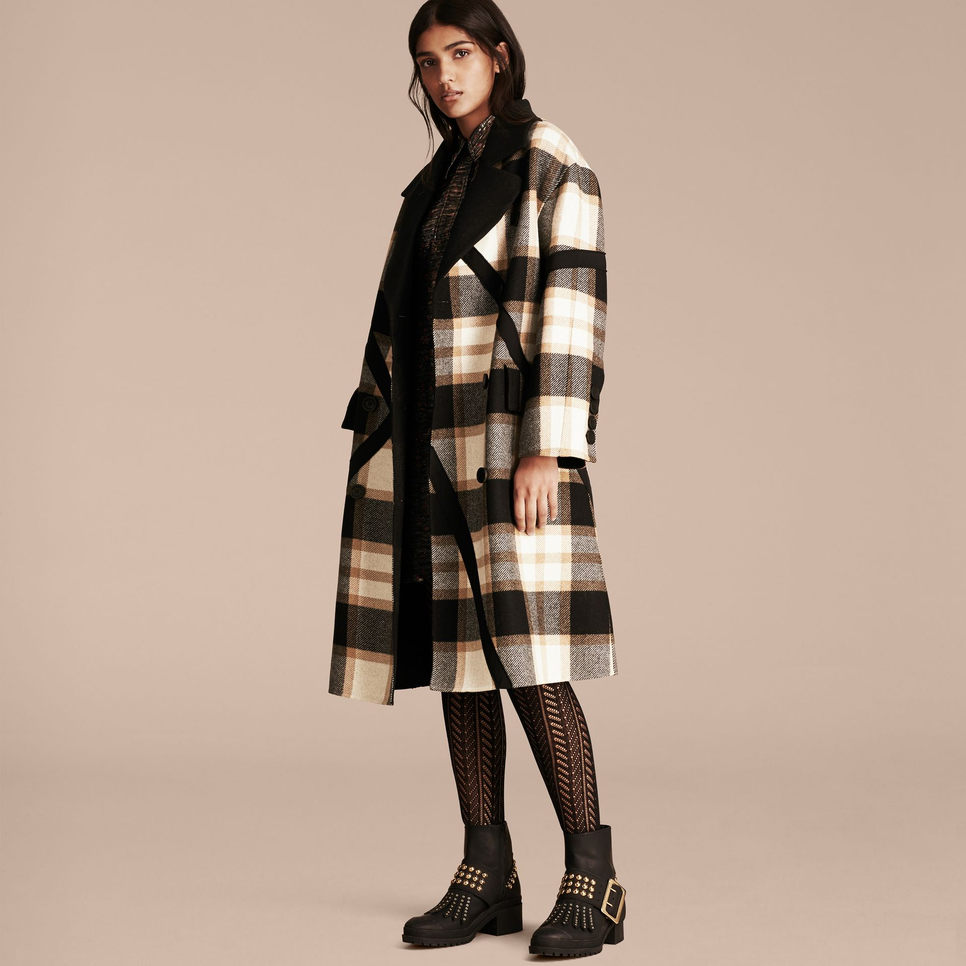 Black/camel Double-breasted Check Wool Coat - gallery image 6
