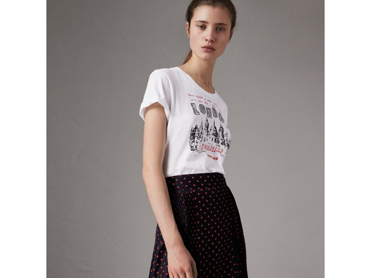 London Icons Print Cotton T-shirt in White - Women | Burberry - cell image 4