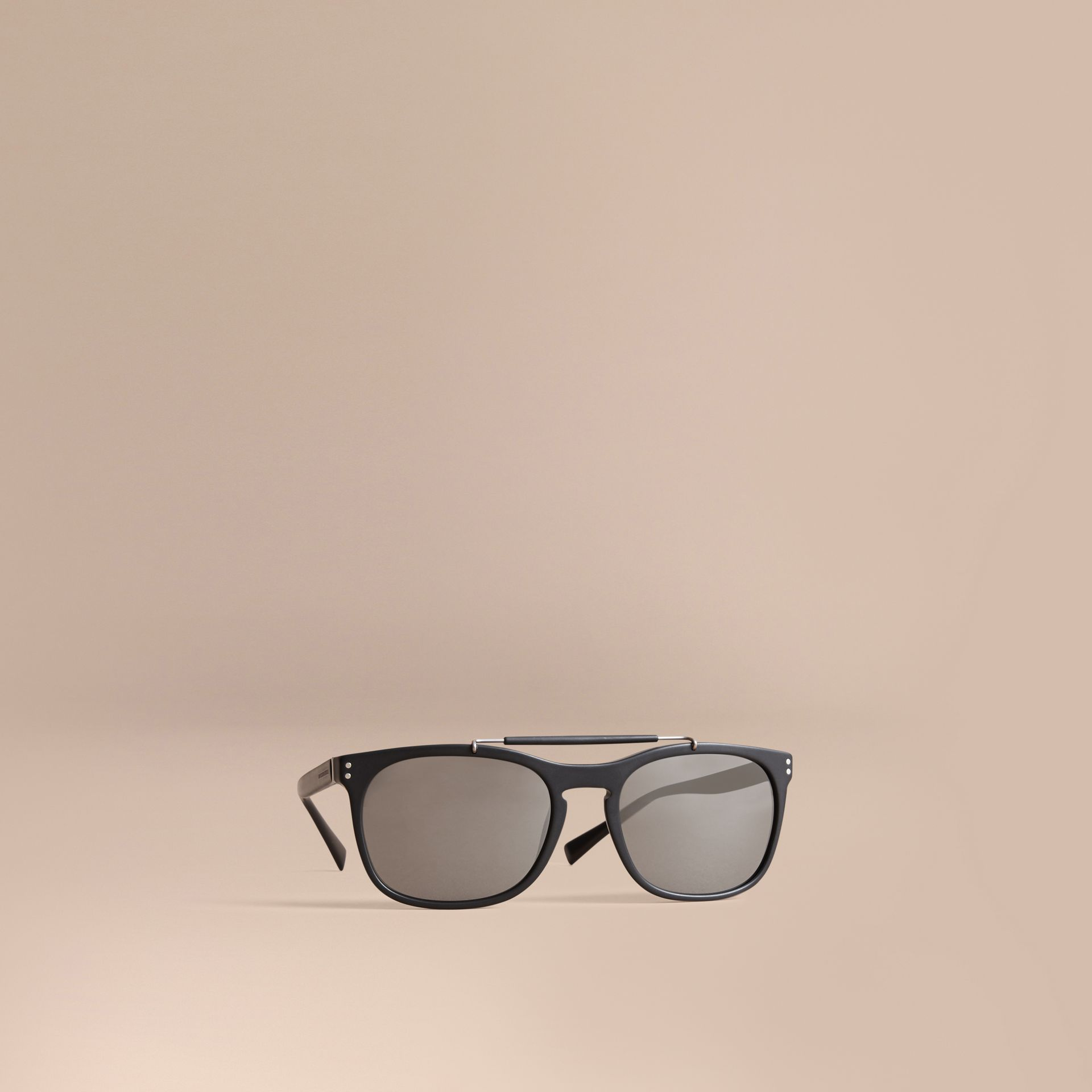 Top Bar Square Frame Sunglasses in Black - Men | Burberry - gallery image 1
