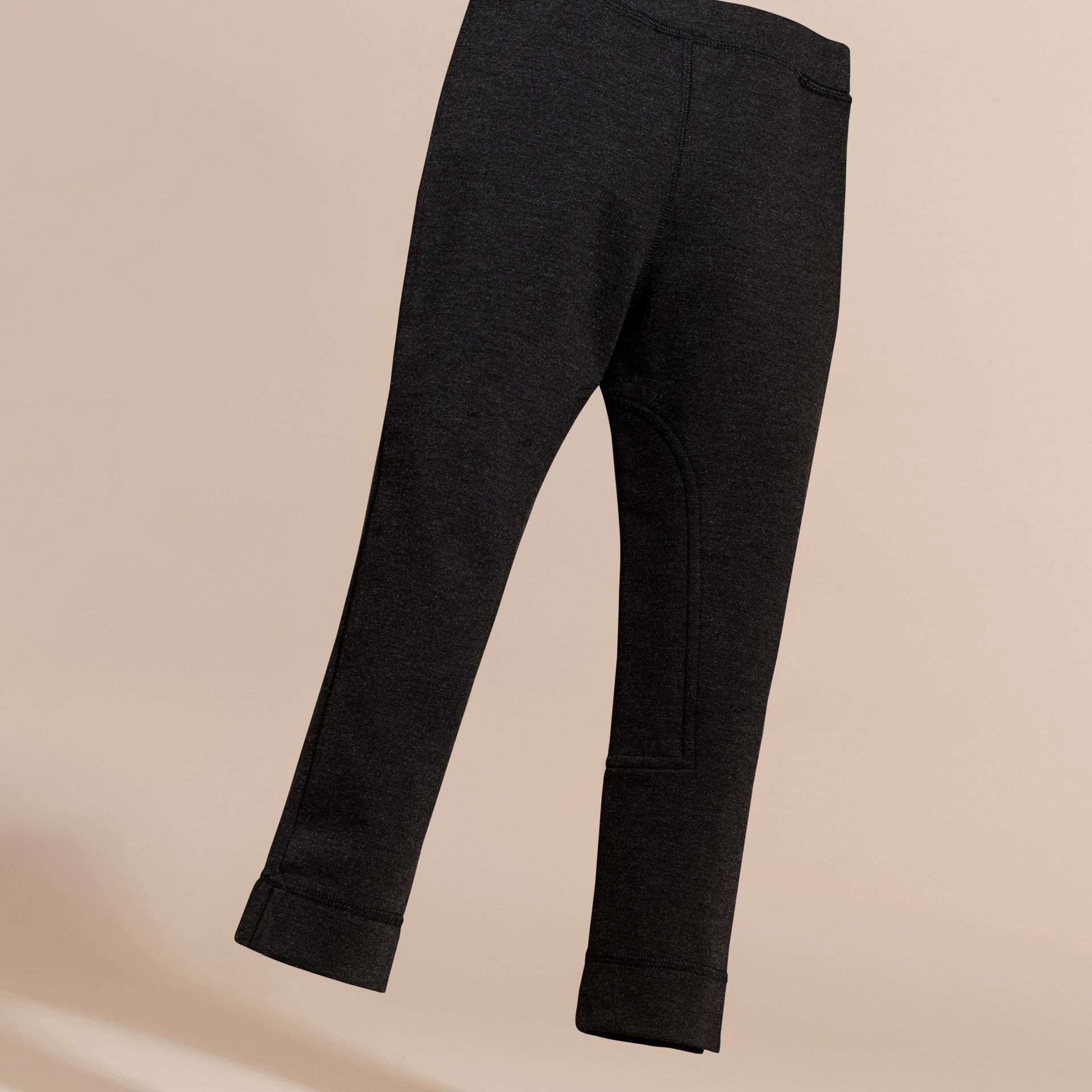 Mid grey melange Stretch Leggings with Zip Pockets - gallery image 4