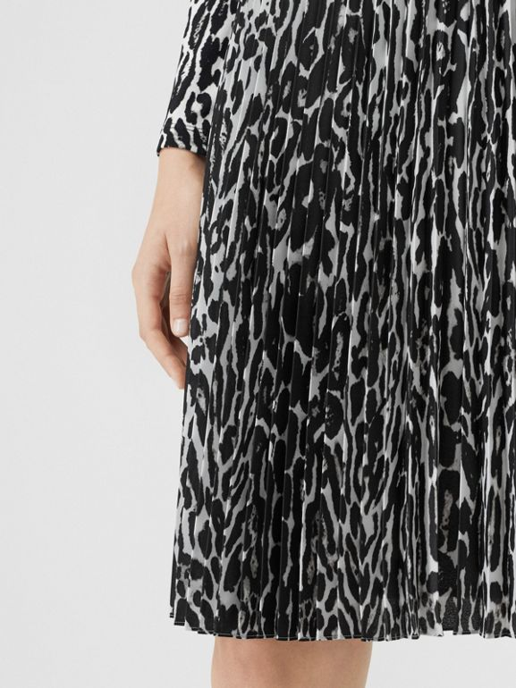 Leopard Print Pleated Skirt in Black - Women | Burberry - cell image 1