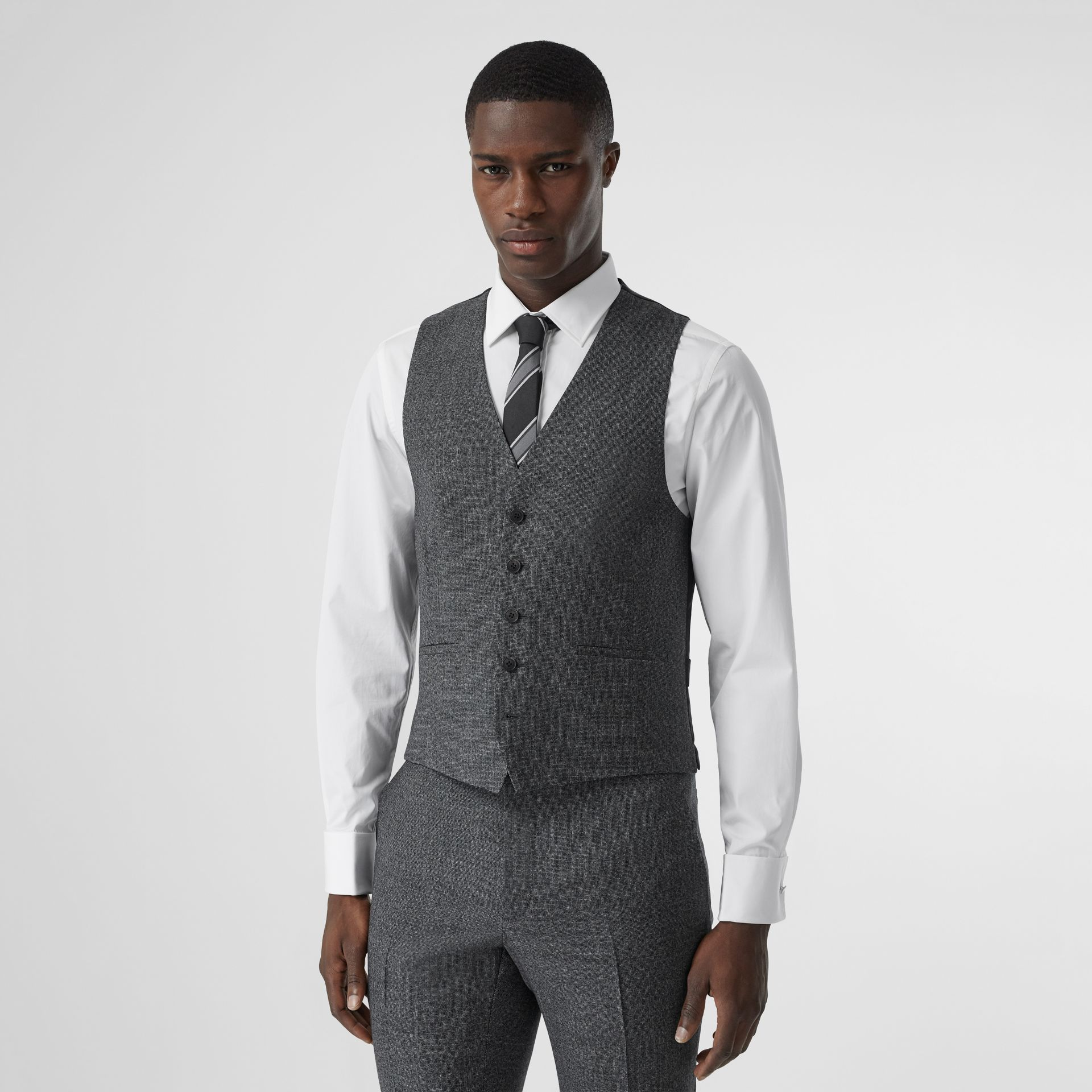 Classic Fit Melange Wool Three-piece Suit in Charcoal - Men | Burberry - gallery image 7