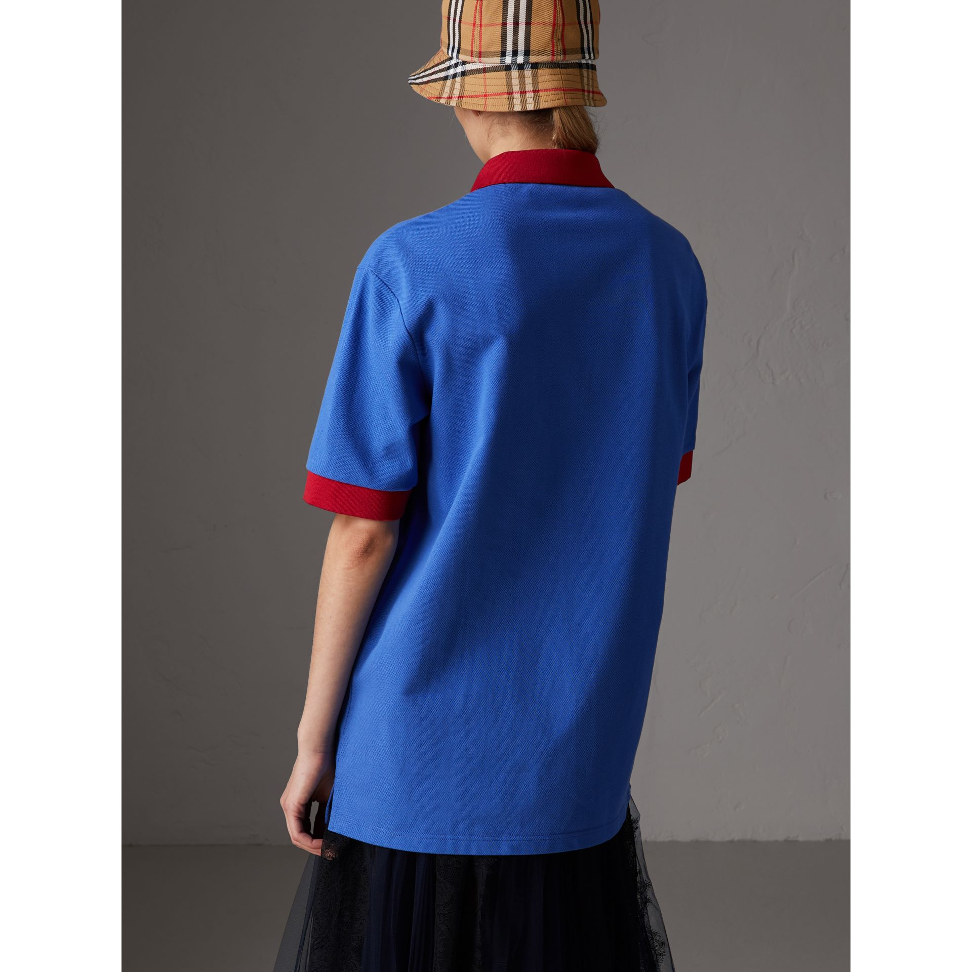 Reissued Cotton Polo Shirt in Cornflower Blue - Women | Burberry - gallery image 2