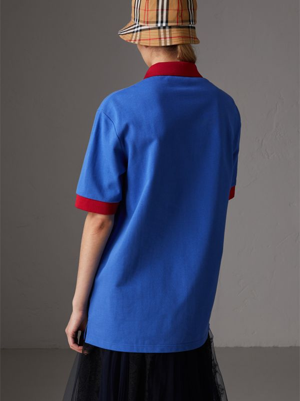Reissued Cotton Polo Shirt in Cornflower Blue - Women | Burberry - cell image 2