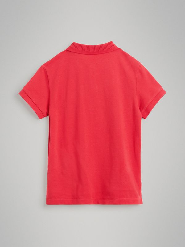 EKD Logo Cotton Piqué Polo Shirt in Bright Red | Burberry Australia - cell image 3
