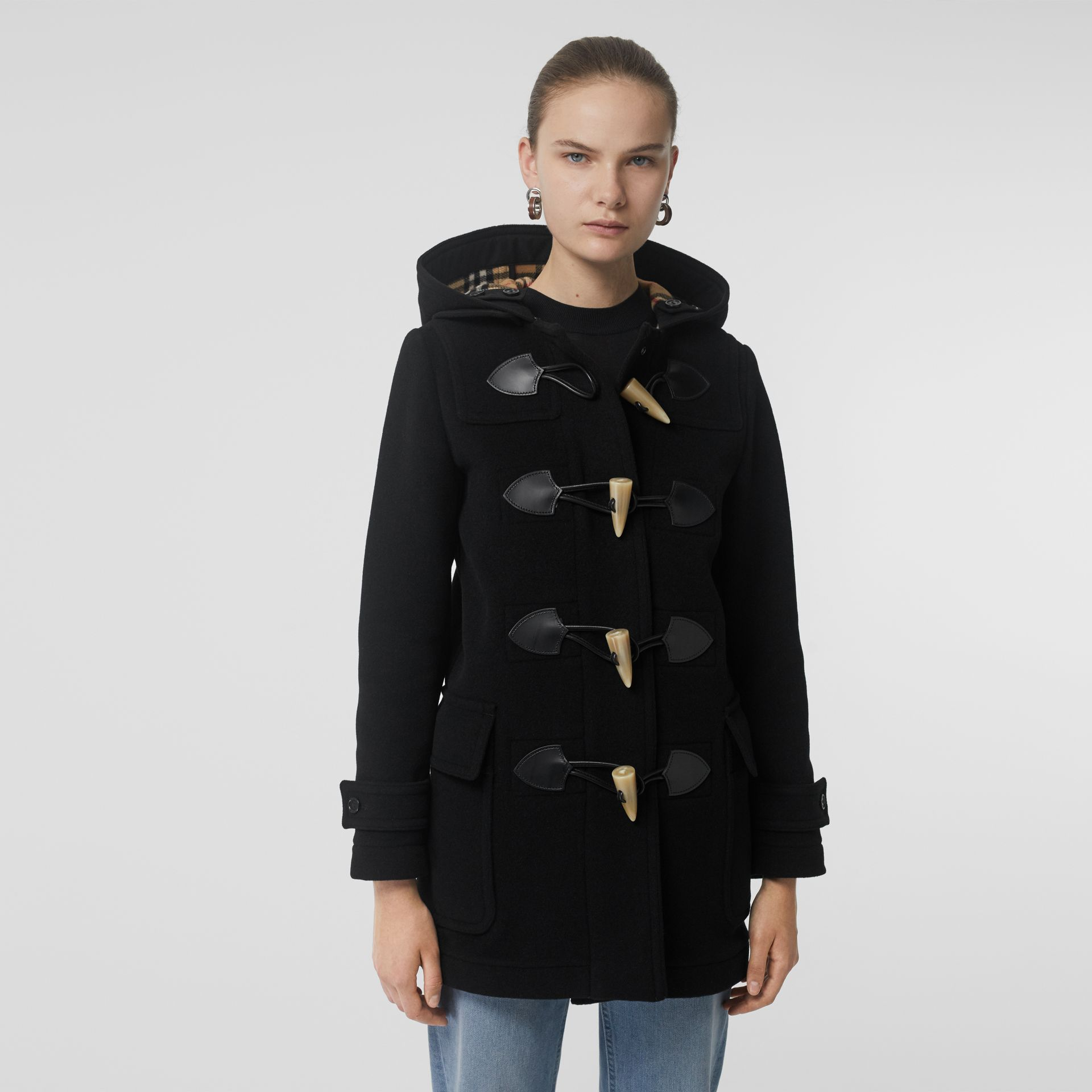 Wool Blend Duffle Coat in Black - Women | Burberry United Kingdom - gallery image 5
