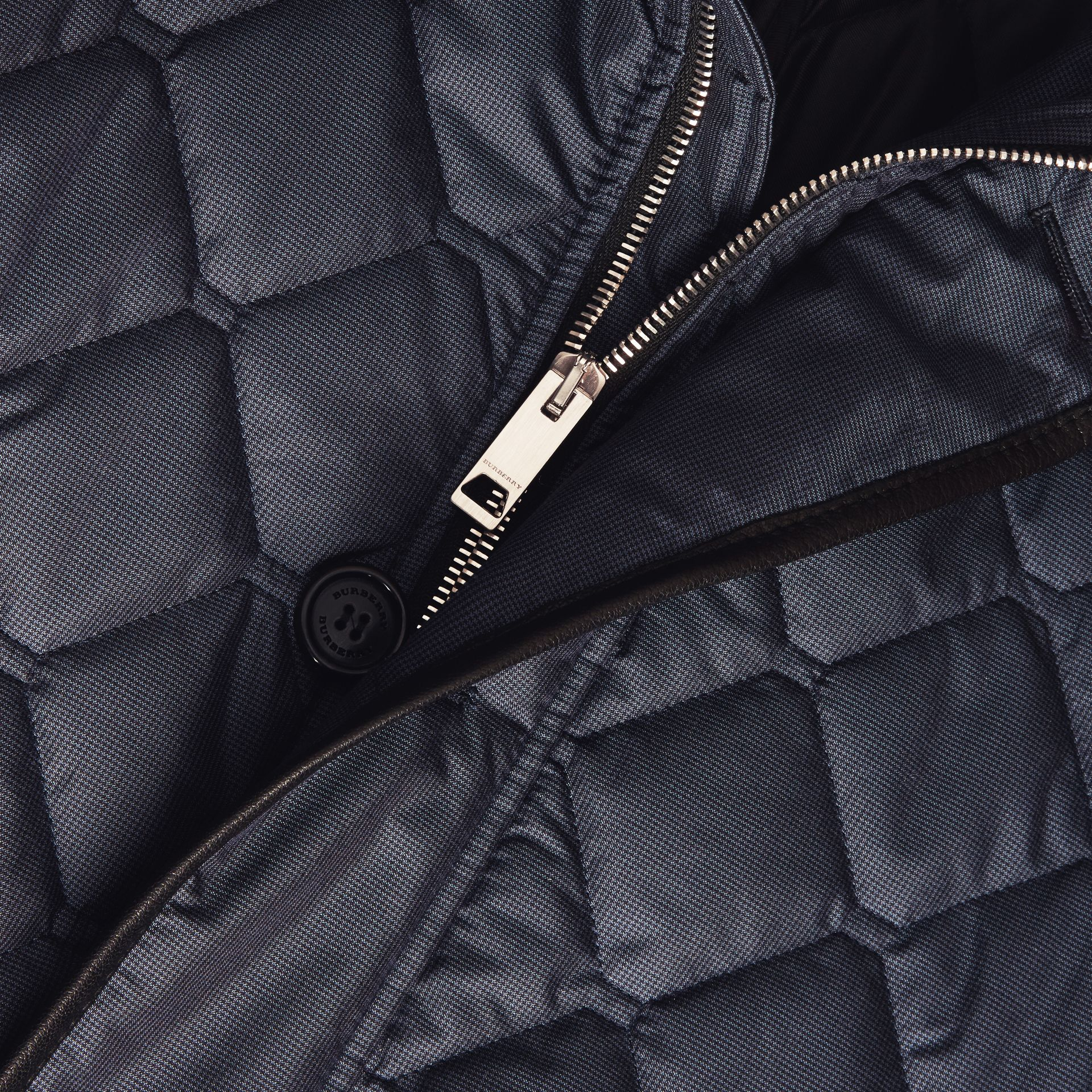 Bright steel blue Lightweight Quilted Jacket with Leather Trim - gallery image 2