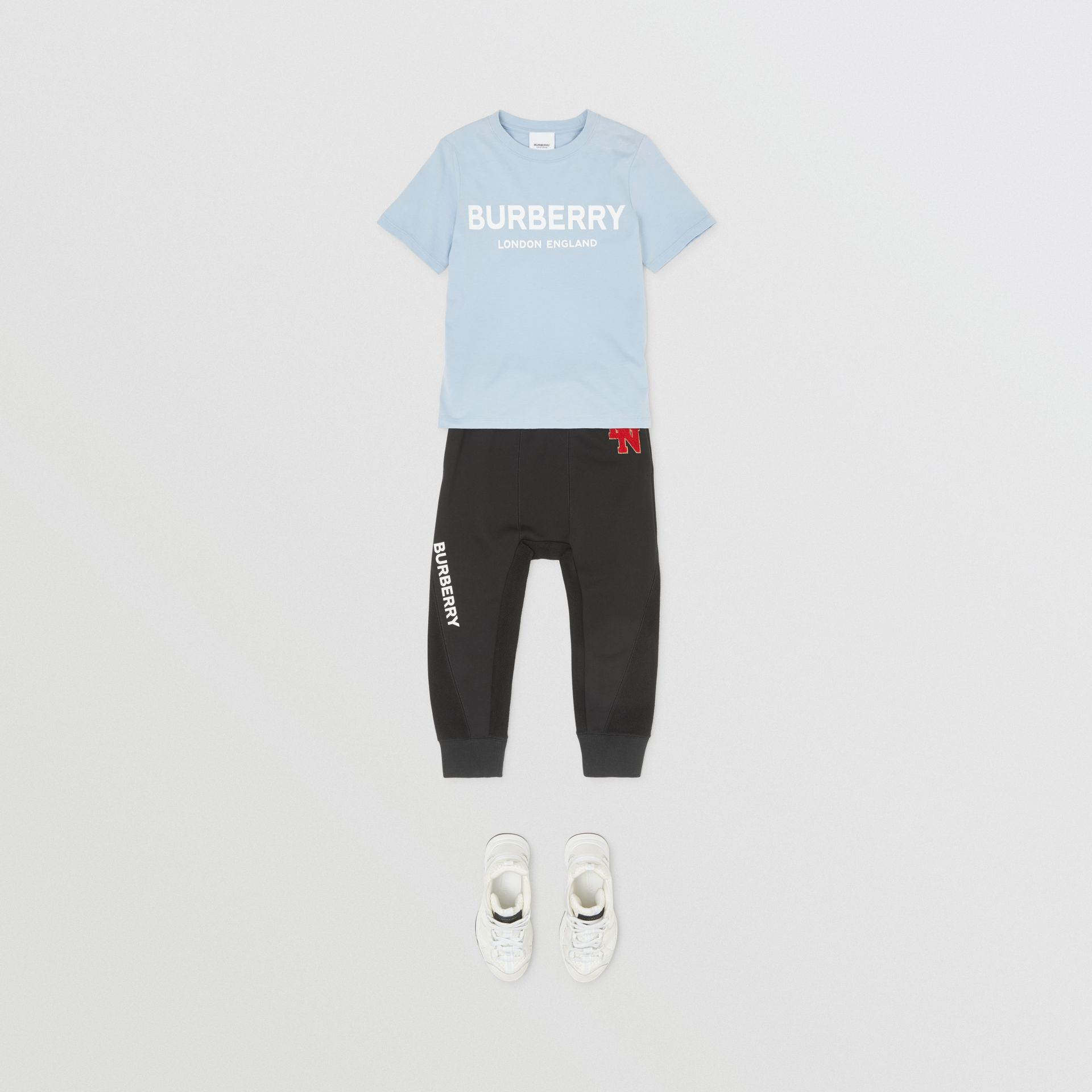 Logo Print Cotton T-shirt in Light Blue | Burberry - gallery image 2