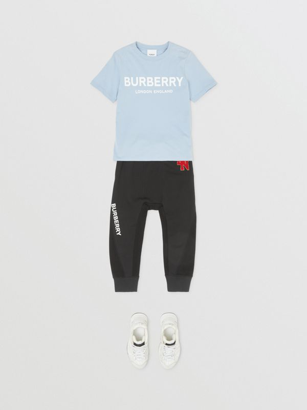 Logo Print Cotton T-shirt in Light Blue | Burberry - cell image 2