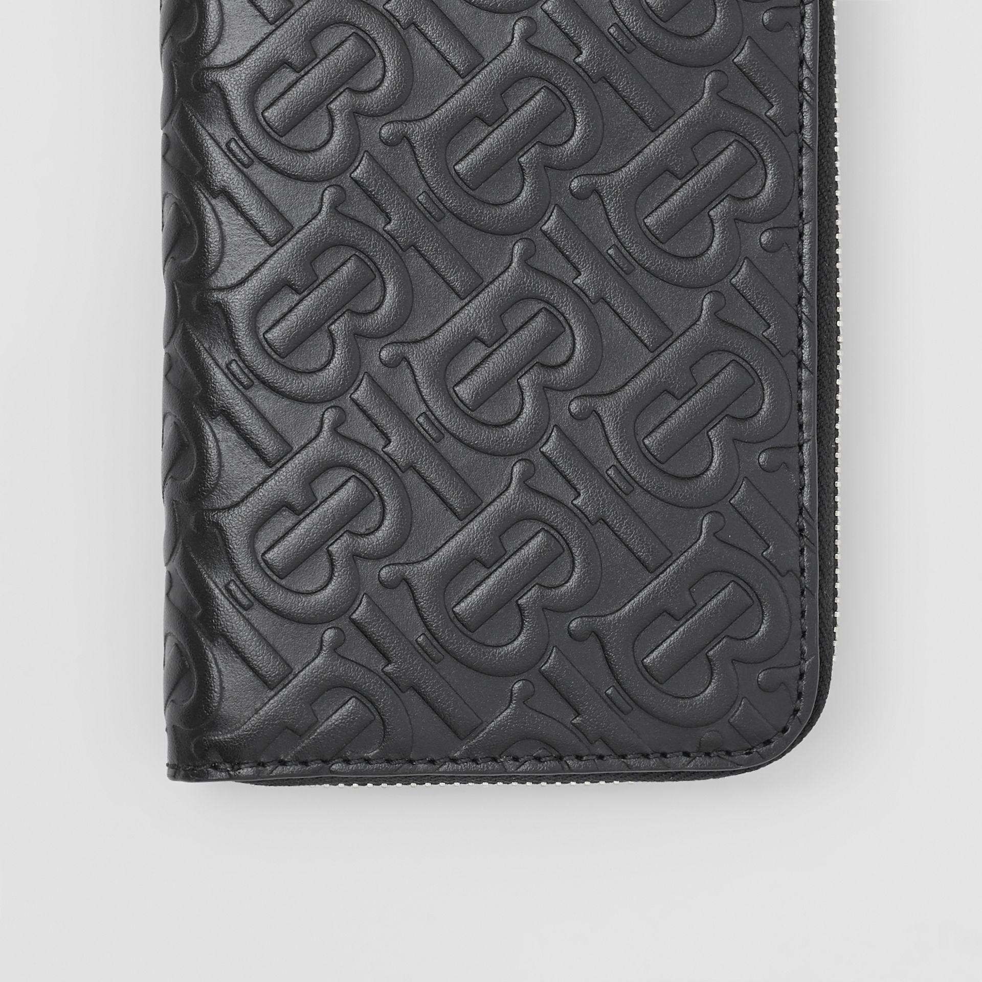 Monogram Leather Ziparound Wallet in Black - Men | Burberry - gallery image 1
