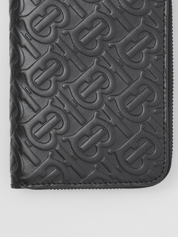 Monogram Leather Ziparound Wallet in Black - Men | Burberry - cell image 1