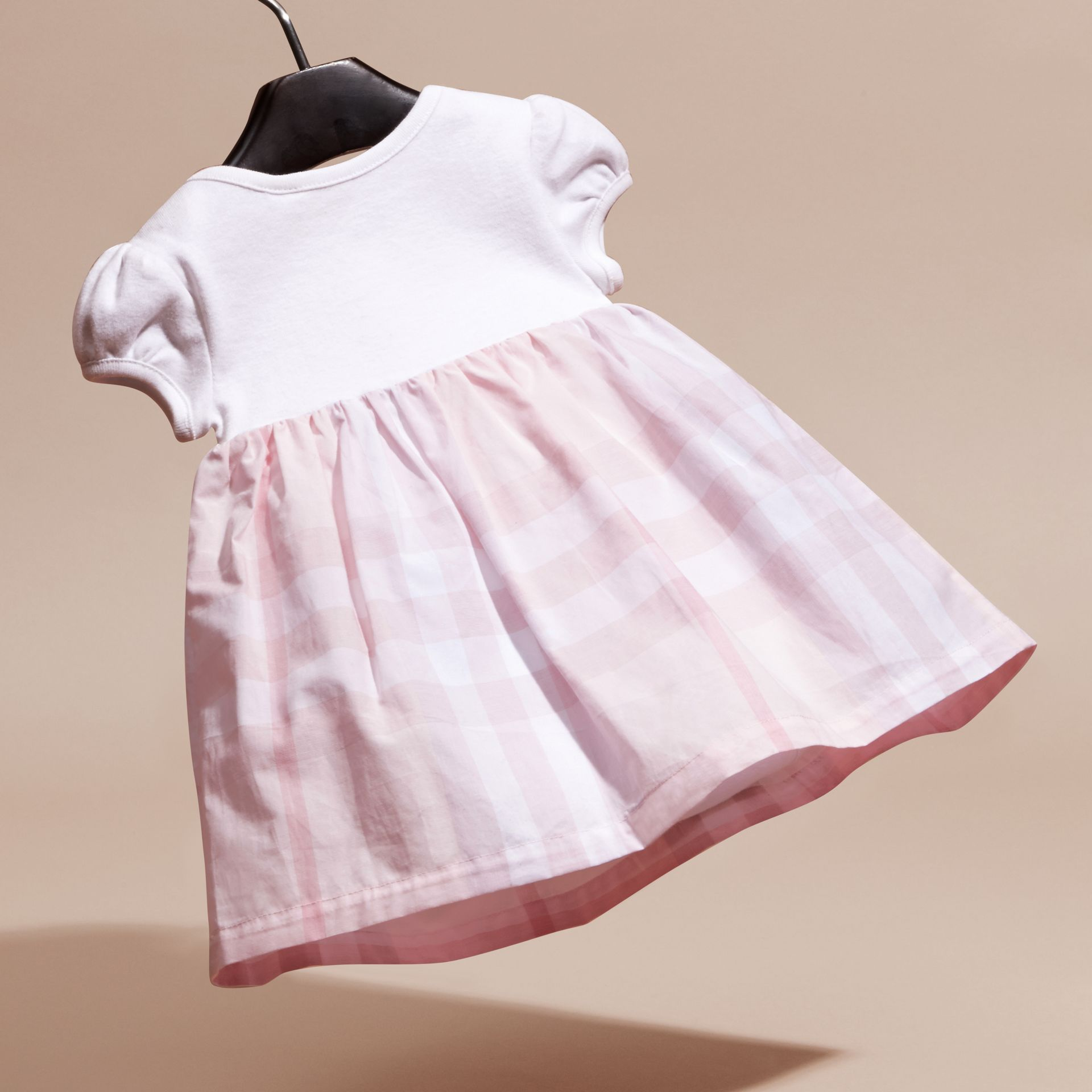 Check Detail Cotton Dress in Ice Pink | Burberry - gallery image 4