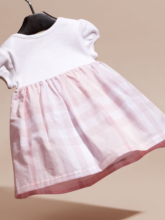 Check Detail Cotton Dress in Ice Pink | Burberry - cell image 3