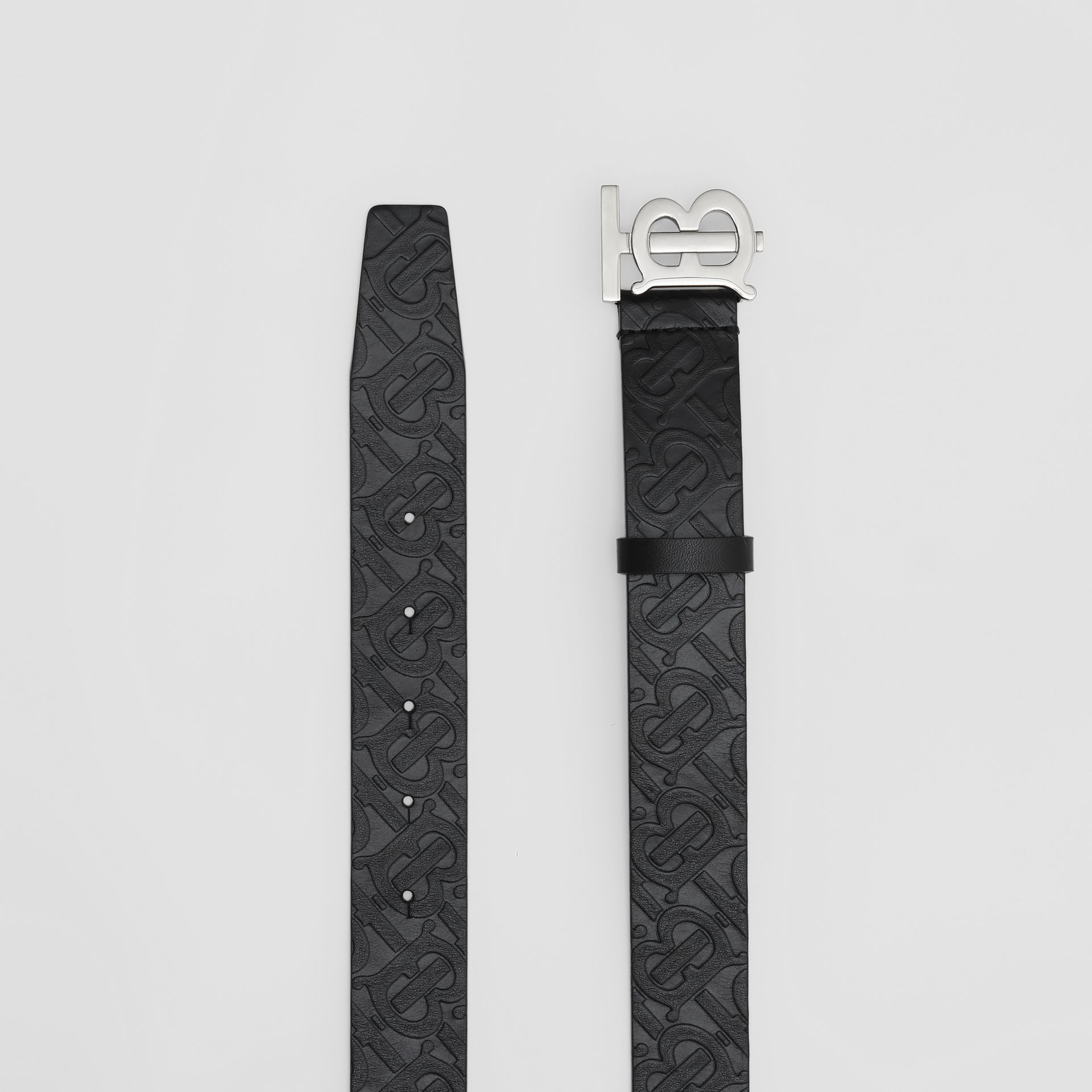 Monogram Motif Monogram Leather Belt in Black - Men | Burberry - gallery image 5