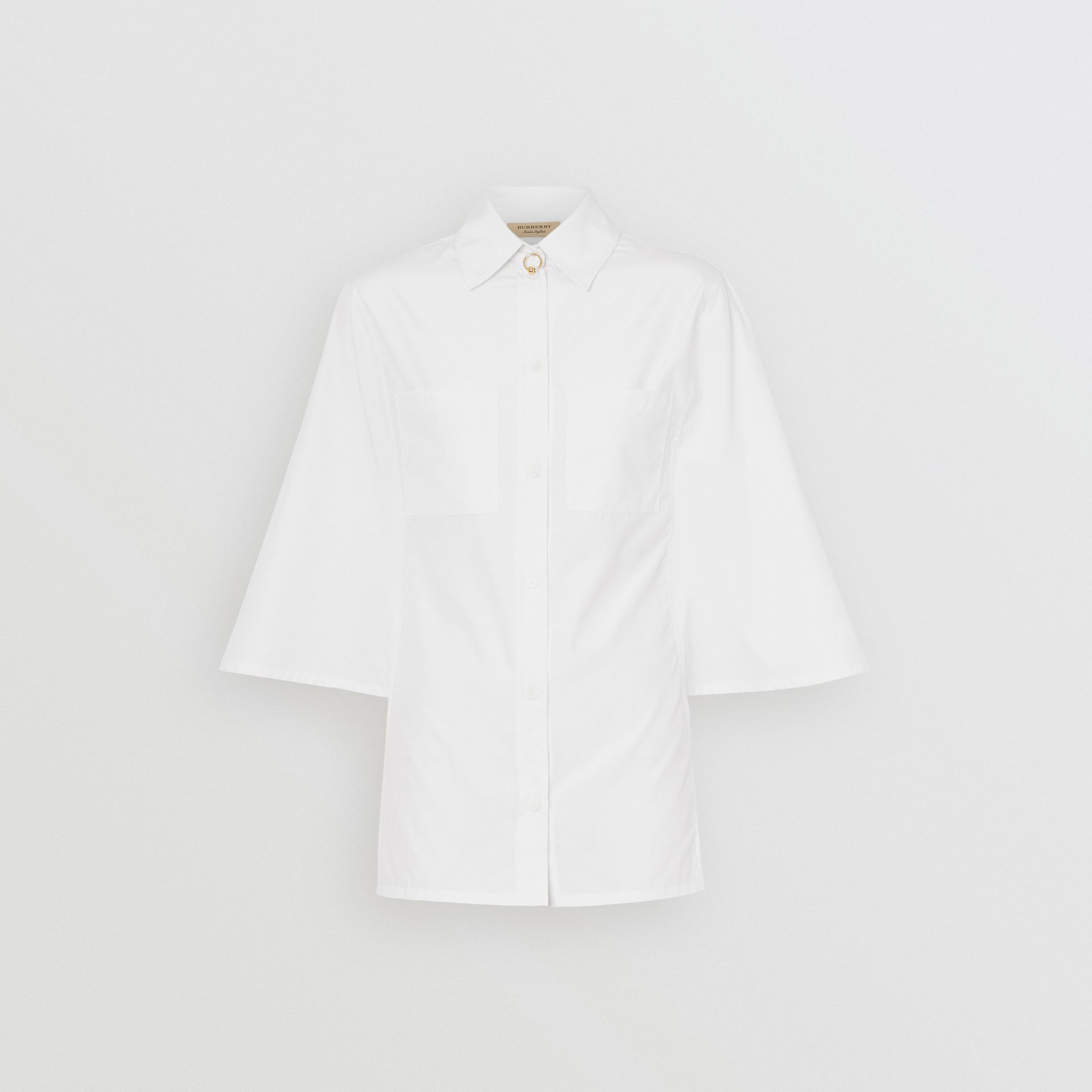 Silk Cotton Capelet Shirt in Optic White - Women | Burberry - gallery image 3