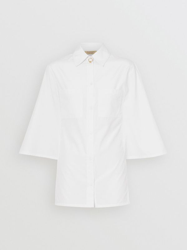 Silk Cotton Capelet Shirt in Optic White - Women | Burberry - cell image 3