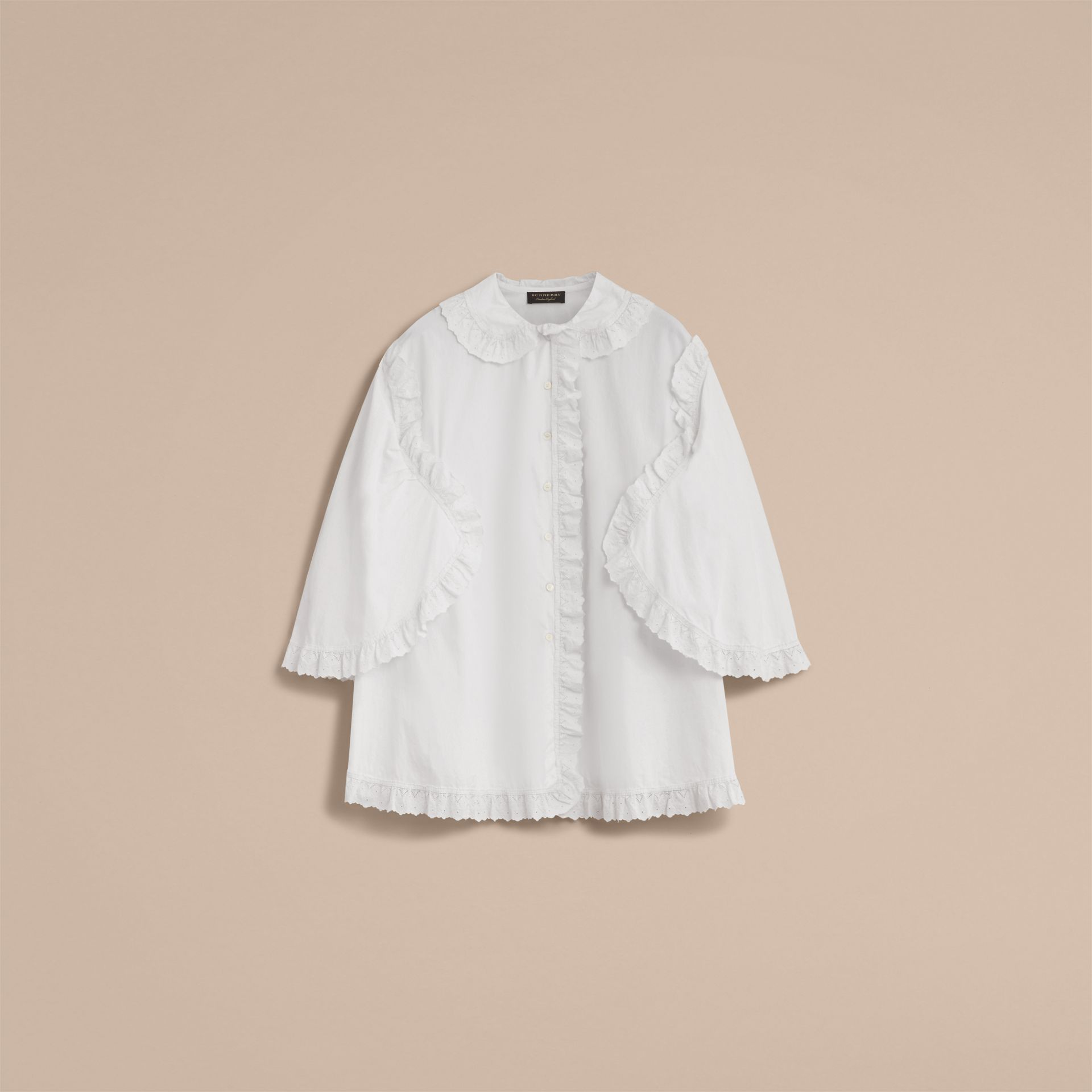 Broderie Anglaise Ruffle Cotton Poplin Shirt in White - Women | Burberry - gallery image 4