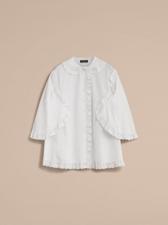 Broderie Anglaise Ruffle Cotton Poplin Shirt in White - Women | Burberry - cell image 3