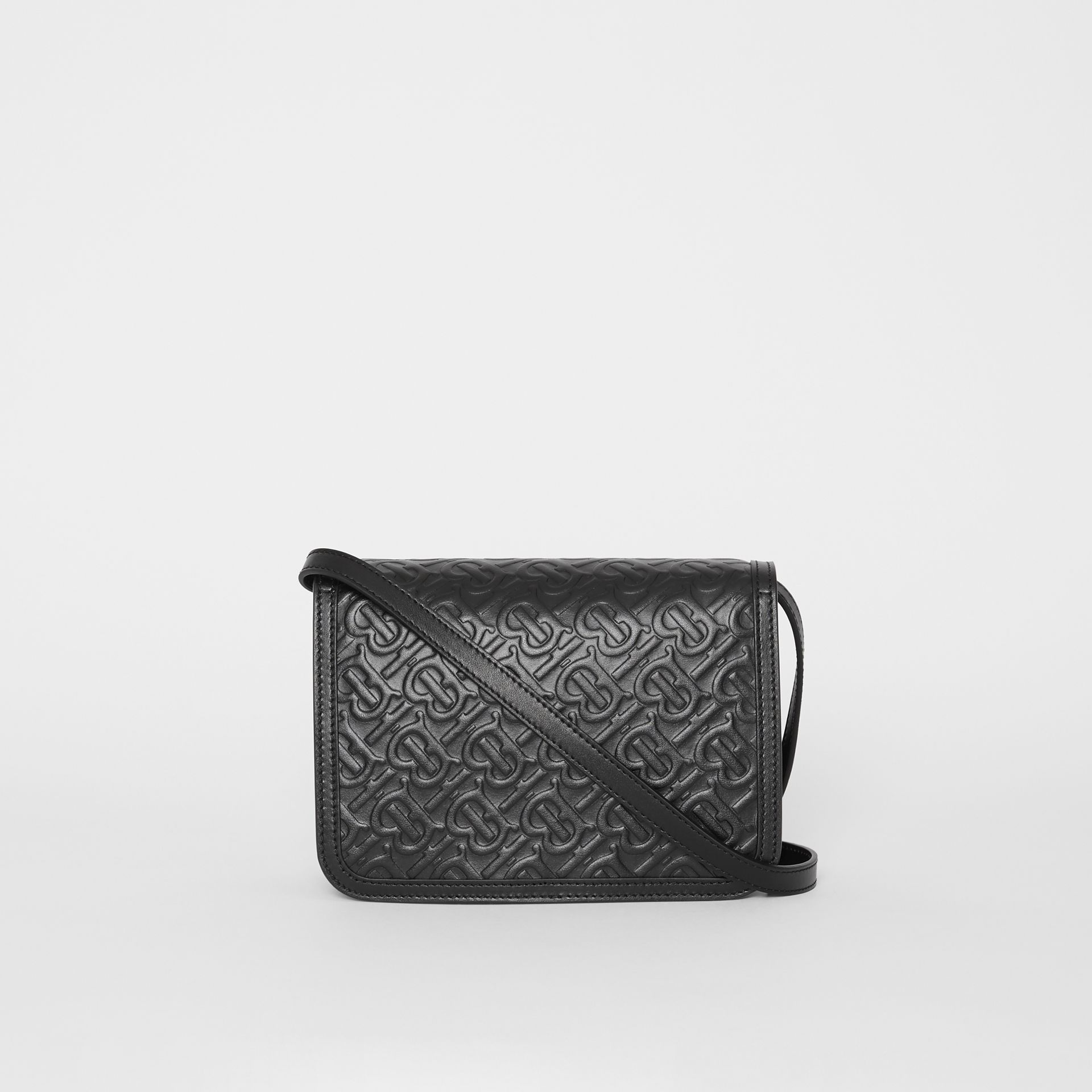 Small Monogram Leather TB Bag in Black - Women | Burberry - gallery image 7