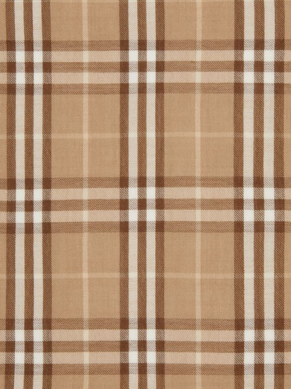 Vintage Check Lightweight Cashmere Scarf in Mid Camel | Burberry United Kingdom - cell image 1