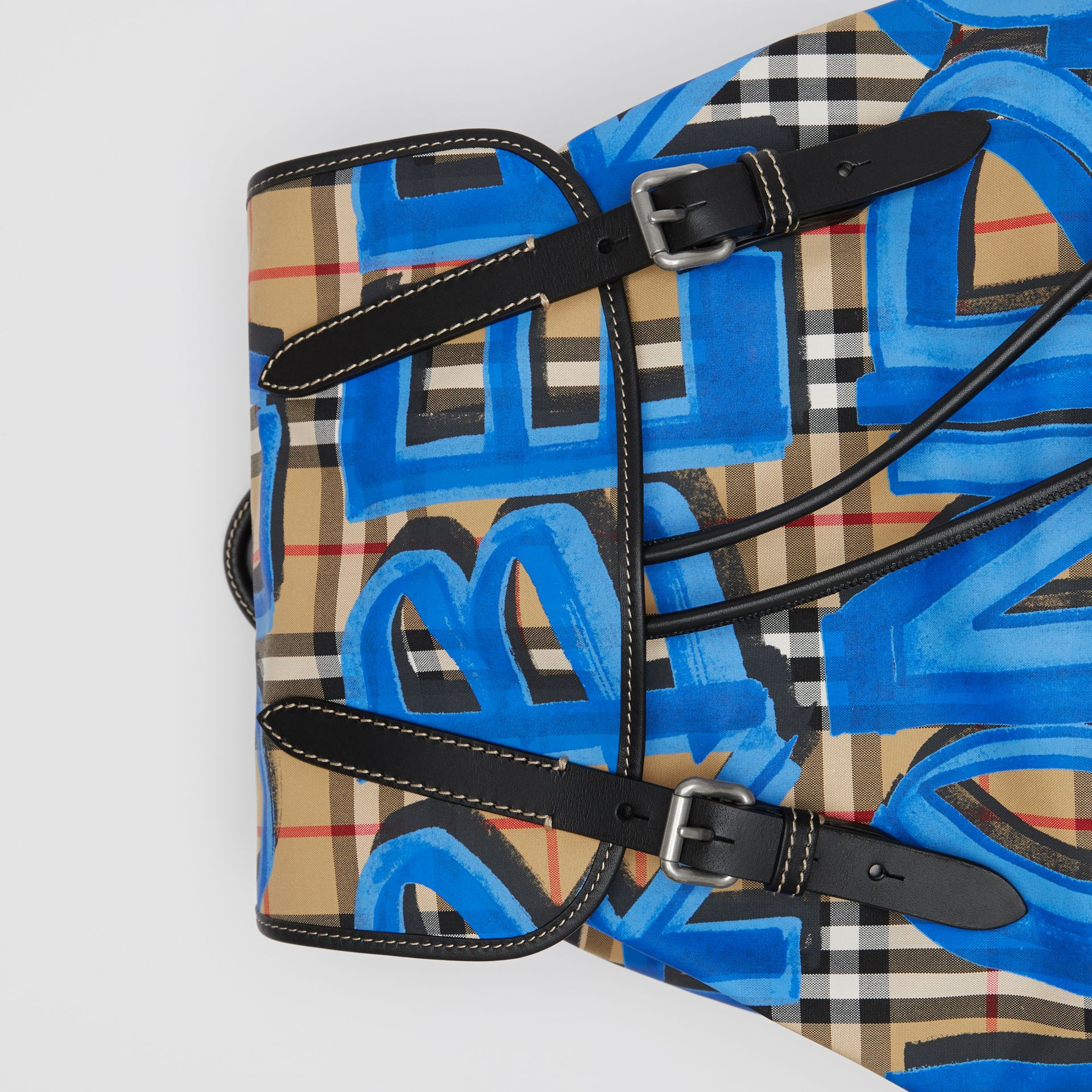 The Large Rucksack in Graffiti Print Vintage Check in Canvas Blue/antique Yellow | Burberry - gallery image 1