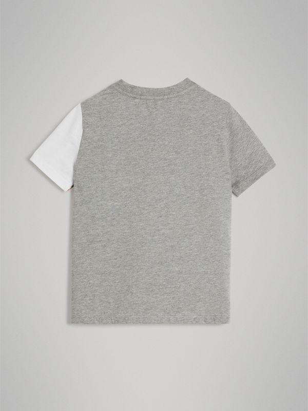 Vintage Check Logo Print Cotton T-shirt in Grey Melange | Burberry - cell image 3