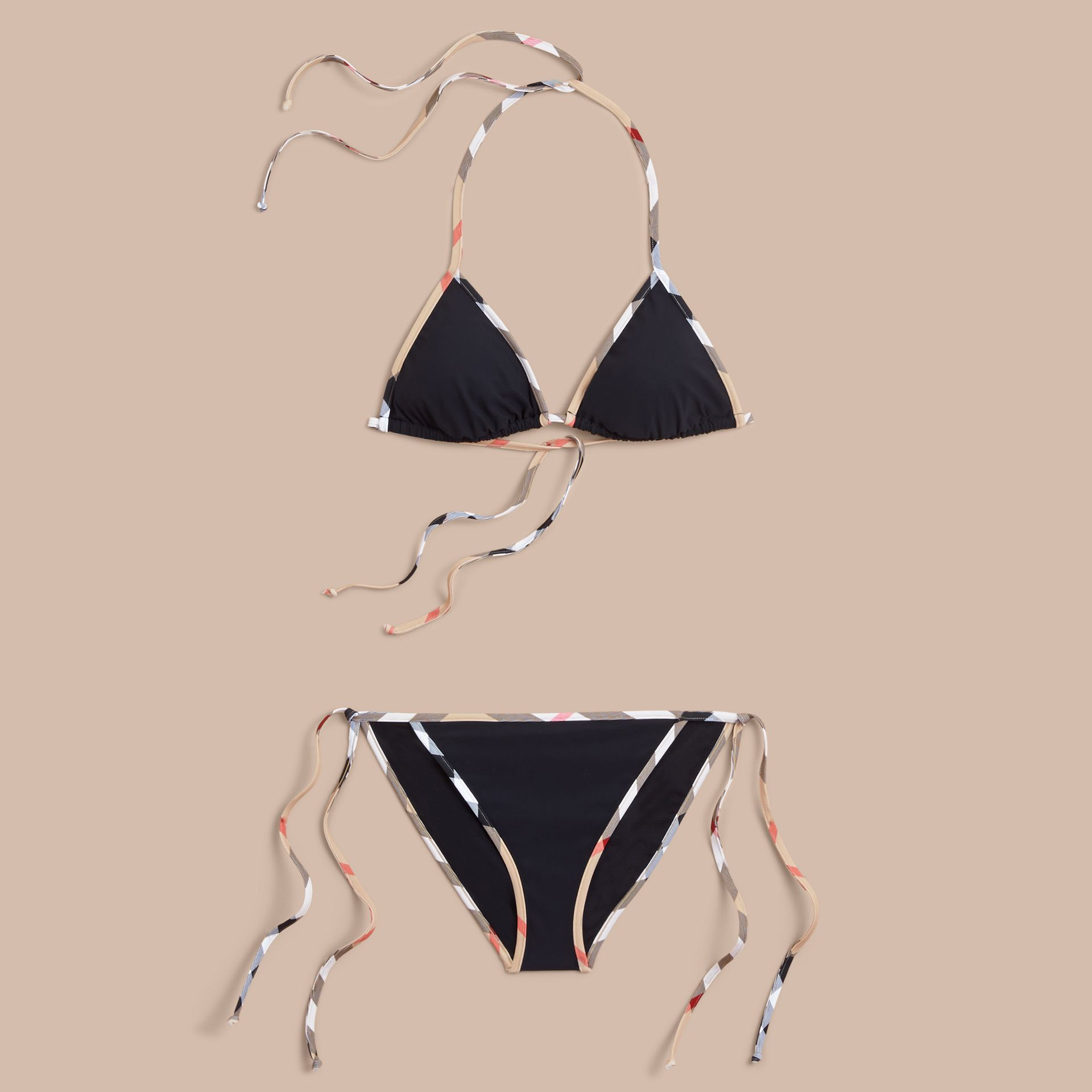 Check Trim Triangle Bikini in Black - Women | Burberry - gallery image 1