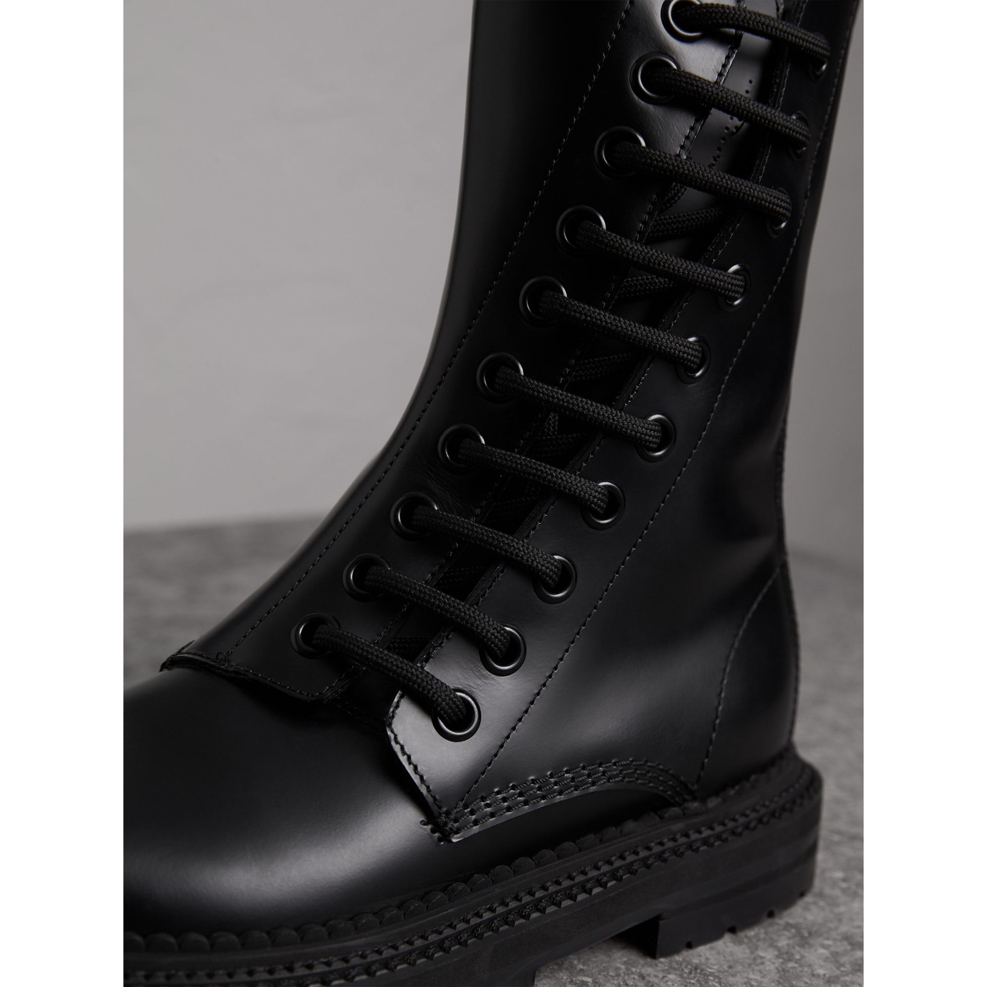 Leather Asymmetric Lace-up Boots in Black - Women | Burberry - gallery image 2