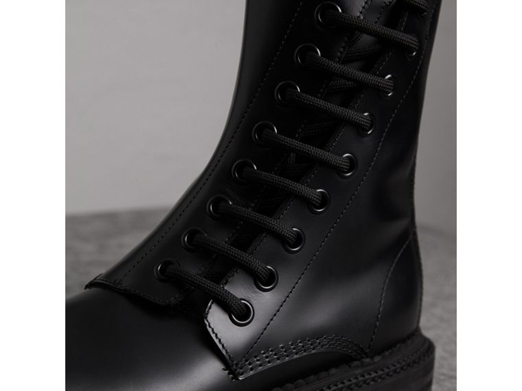Leather Asymmetric Lace-up Boots in Black - Women | Burberry - cell image 1