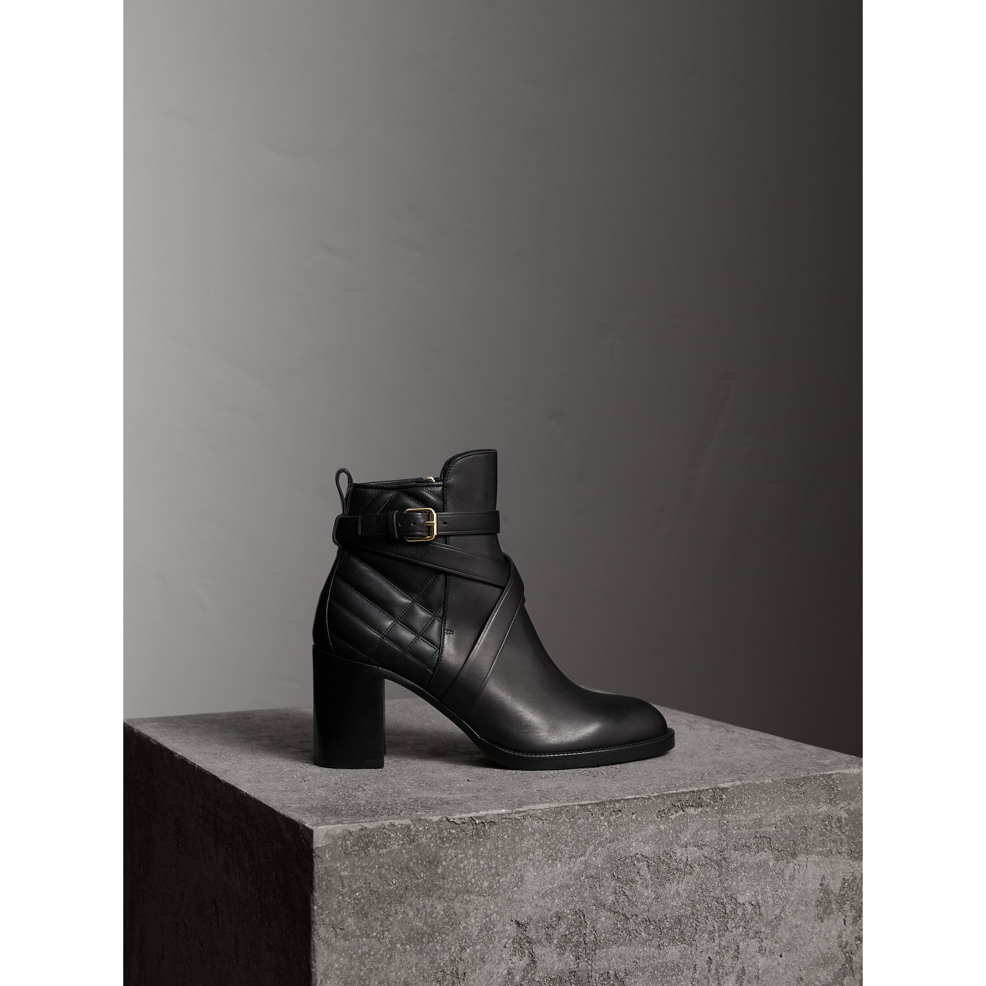 Strap Detail Quilted Leather Ankle Boots in Black - Women | Burberry Singapore - gallery image 1