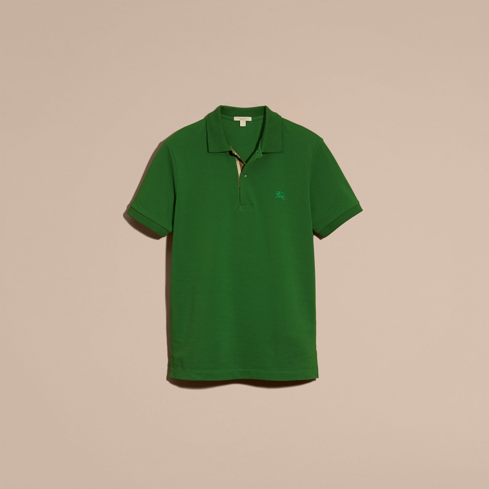 Check Placket Cotton Piqué Polo Shirt in Bright Fern Green - Men | Burberry - gallery image 4