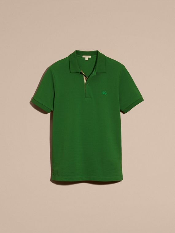 Check Placket Cotton Piqué Polo Shirt in Bright Fern Green - Men | Burberry - cell image 3