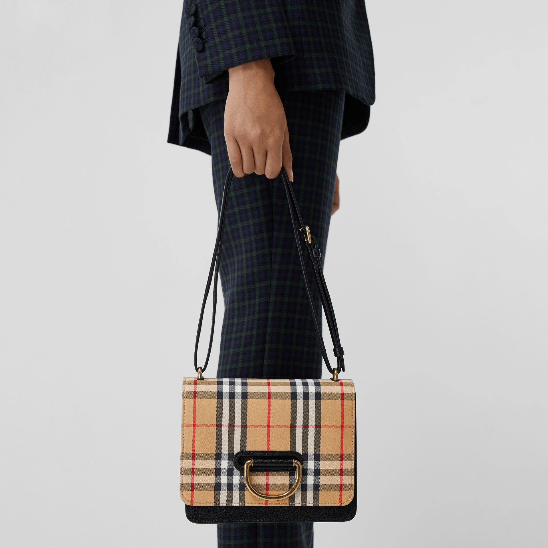 The Small Vintage Check and Leather D-ring Bag in Black/antique Yellow - Women | Burberry Canada - gallery image 3