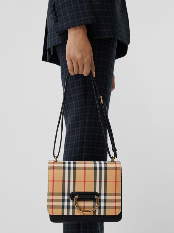 Borsa The D-ring piccola in pelle con motivo Vintage check (Nero/giallo Antico) - Donna | Burberry - cell image 3