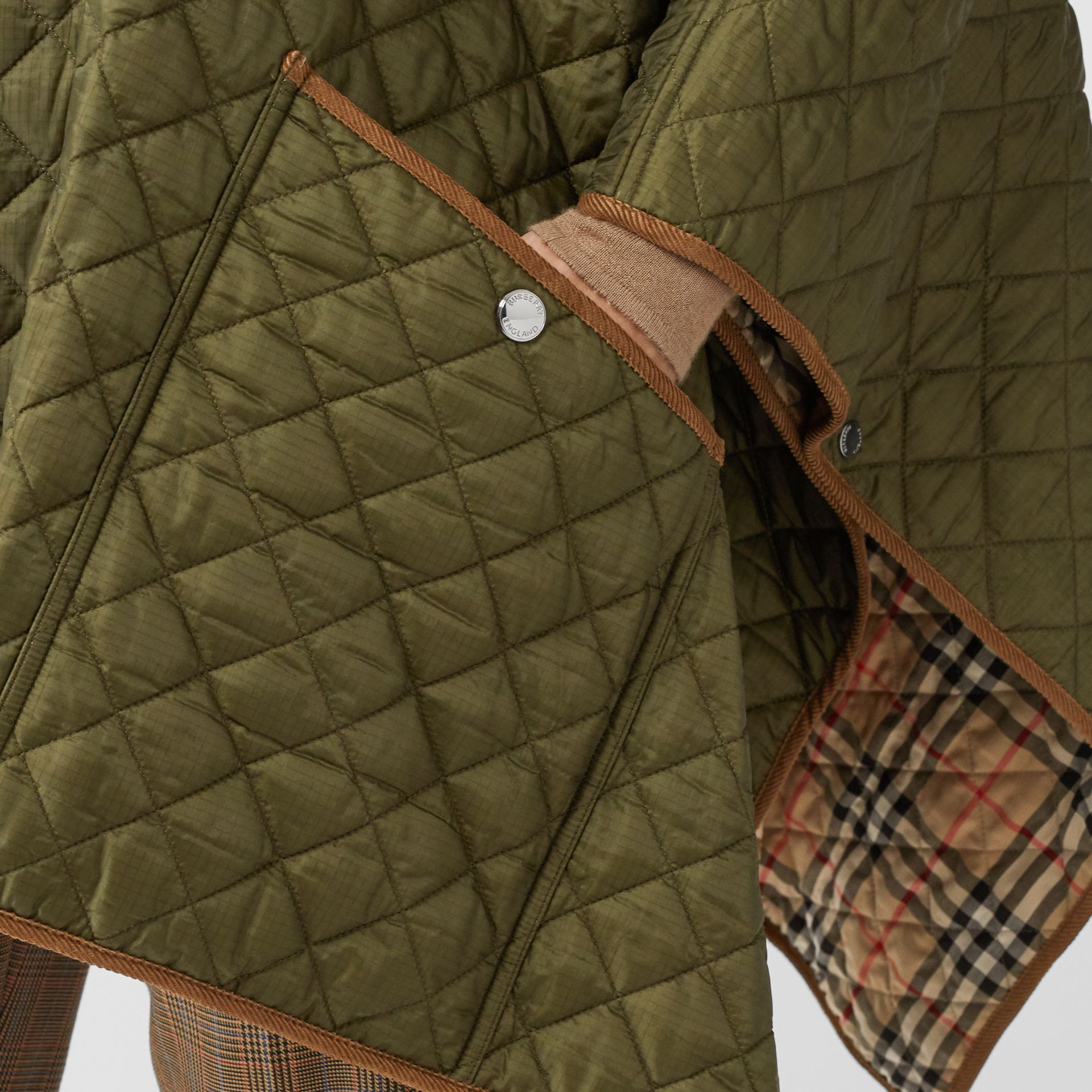 Corduroy Trim Quilted Hooded Cape in Military Olive - Women   Burberry United States - gallery image 4